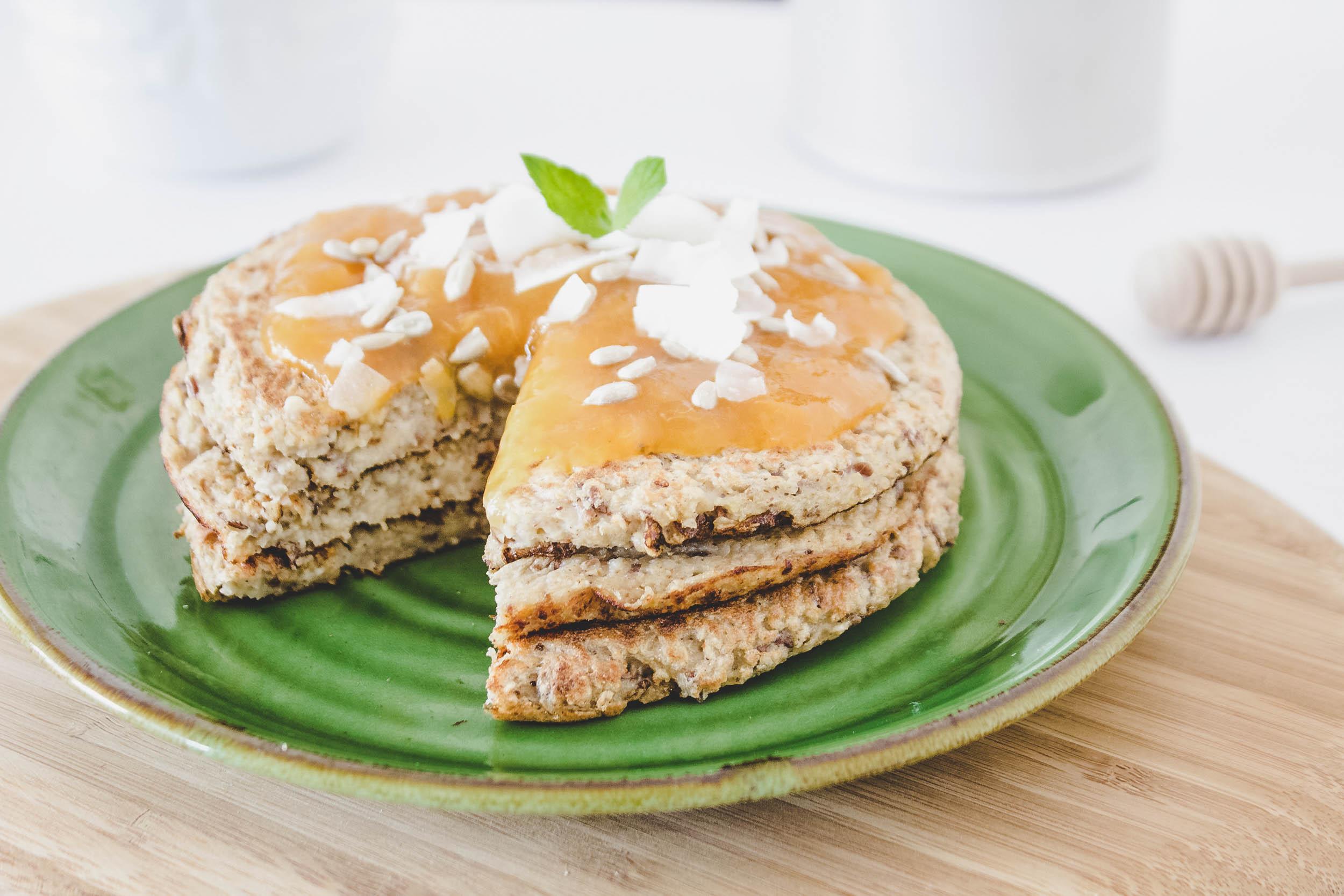 pancakes de avena y plátano sin huevo